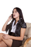 Woman phone dark hair talking Stock Photos
