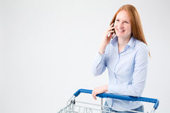 Woman on the Phone Doing Grocery Shopping Stock Photo