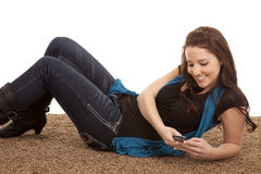 Woman phone floor happy Stock Photos