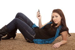Woman phone floor serious Royalty Free Stock Image