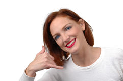 Woman with phone gesture. On white background Stock Images