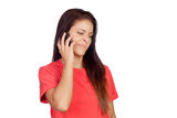 Woman on the phone with a gesture of negativity on her face Stock Images