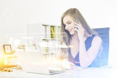 Woman on phone, graphs and formulas Stock Photos