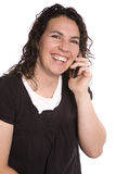 Woman on phone with happy expression Royalty Free Stock Image