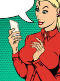 Woman with phone in his hand in pop art style Royalty Free Stock Photography