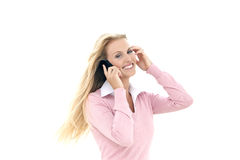 Woman on the phone - isolated on white Stock Photos