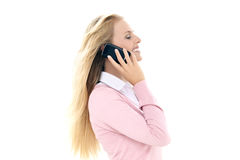 Woman on the phone - isolated on white Royalty Free Stock Image