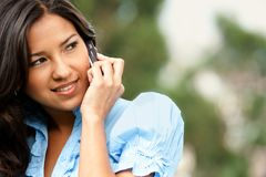 Woman on the phone outdoors Royalty Free Stock Photography