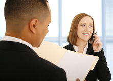 Woman On The Phone Smiling stock photos
