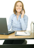 Woman On The Phone And Smiling Royalty Free Stock Images
