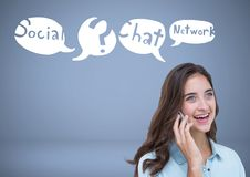 Woman on phone with social network chat Business graphics drawings Stock Photos