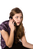 Woman on phone startled Royalty Free Stock Images