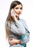Woman phone talking portrait. White background iso Stock Photo