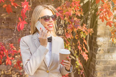 Woman on the phone talking Stock Photo
