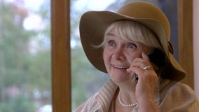 Woman phone talking and smiling. stock footage