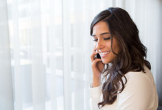 Woman with phone Stock Image