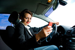 Woman phoning in the car 2 Stock Photo
