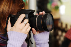 Woman photgrapher Stock Photo