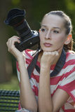 Woman with photo camera Royalty Free Stock Images