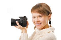 Woman with photo camera Stock Image