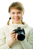 Woman with photo camera Royalty Free Stock Photo