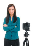 Woman and photo camera Royalty Free Stock Photo