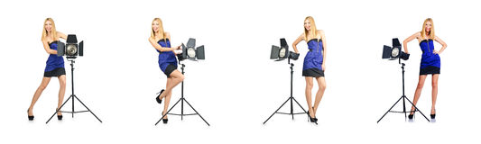 The woman during photo photosession on white Stock Photography