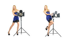 The woman during photo photosession on white Royalty Free Stock Image