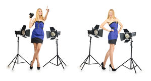 The woman during photo photosession on white Royalty Free Stock Photos