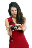 Woman and photocamera Royalty Free Stock Photos