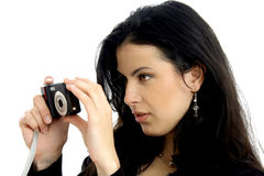 Woman and photocamera Royalty Free Stock Photography