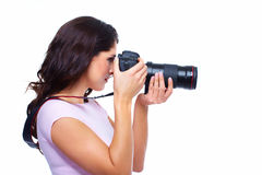 Woman with a photocamera. Stock Photography