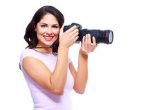 Woman with a photocamera. Stock Images