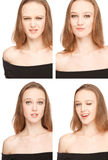 Woman photografing herself in the Photo Booth. Four images of a young woman in Photo Booth,expressing different emotions. Image is a collage Royalty Free Stock Image