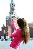 Woman photographed attractions in Moscow Stock Image