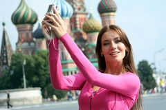 Woman photographed attractions in Moscow Stock Photos