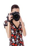Woman photographed on reflex camera Stock Photo