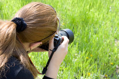 Woman photographer Stock Photo