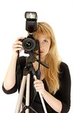 Woman photographer Royalty Free Stock Photos