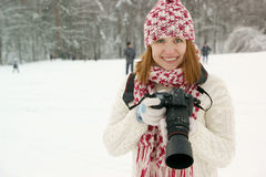 Woman photographer Royalty Free Stock Photo