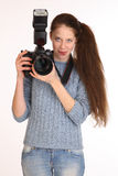 Woman photographer. Stock Image