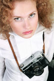 Woman photographer with camera Stock Photos