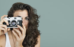 Woman Photographer Camera Focus Photography Concept Royalty Free Stock Images
