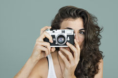 Woman Photographer Camera Focus Photography Concept Royalty Free Stock Photography