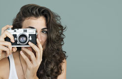 Woman Photographer Camera Focus Photography Concept Royalty Free Stock Image