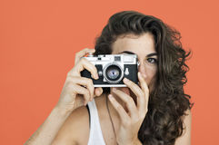 Woman Photographer Camera Focus Photography Concept Stock Photography