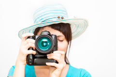Woman photographer with camera Royalty Free Stock Photography