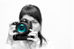 Woman photographer with camera Stock Image