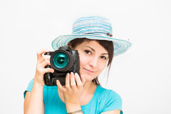 Woman photographer with camera Royalty Free Stock Image