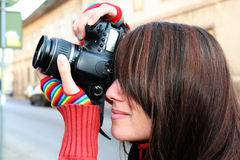 Woman photographer close up Royalty Free Stock Photo